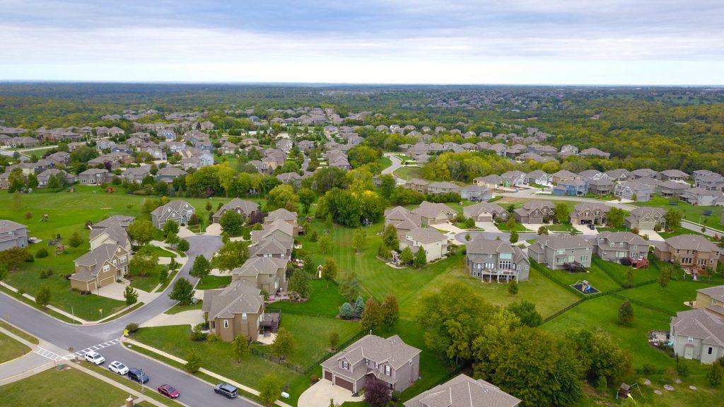 Aerial view of a cul-de-sac neighborhood