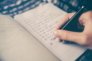 A man making a checklist