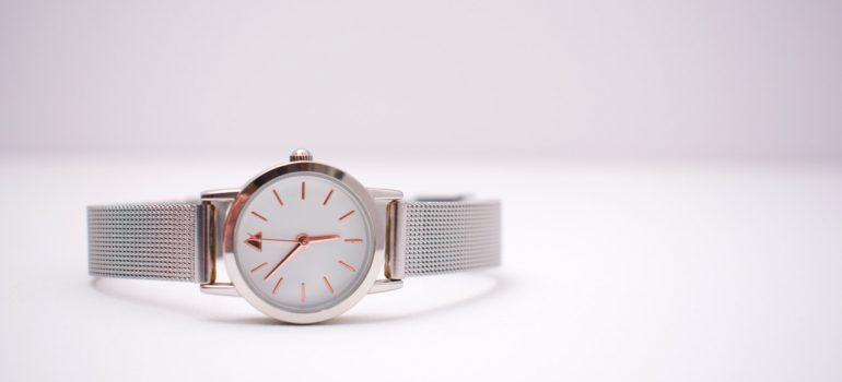 A silver wrist watch