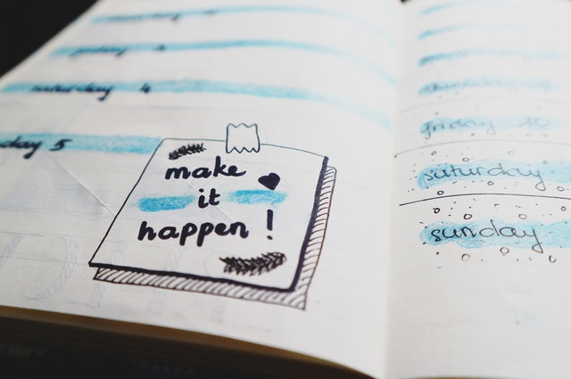 A note in a planner