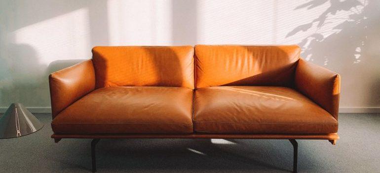 An orange sofa