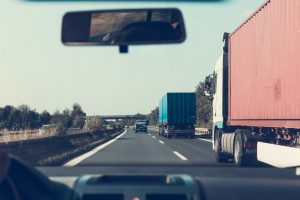 Moving trucks on an open road