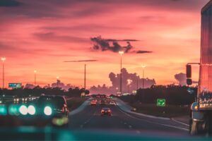 A highway during sunset