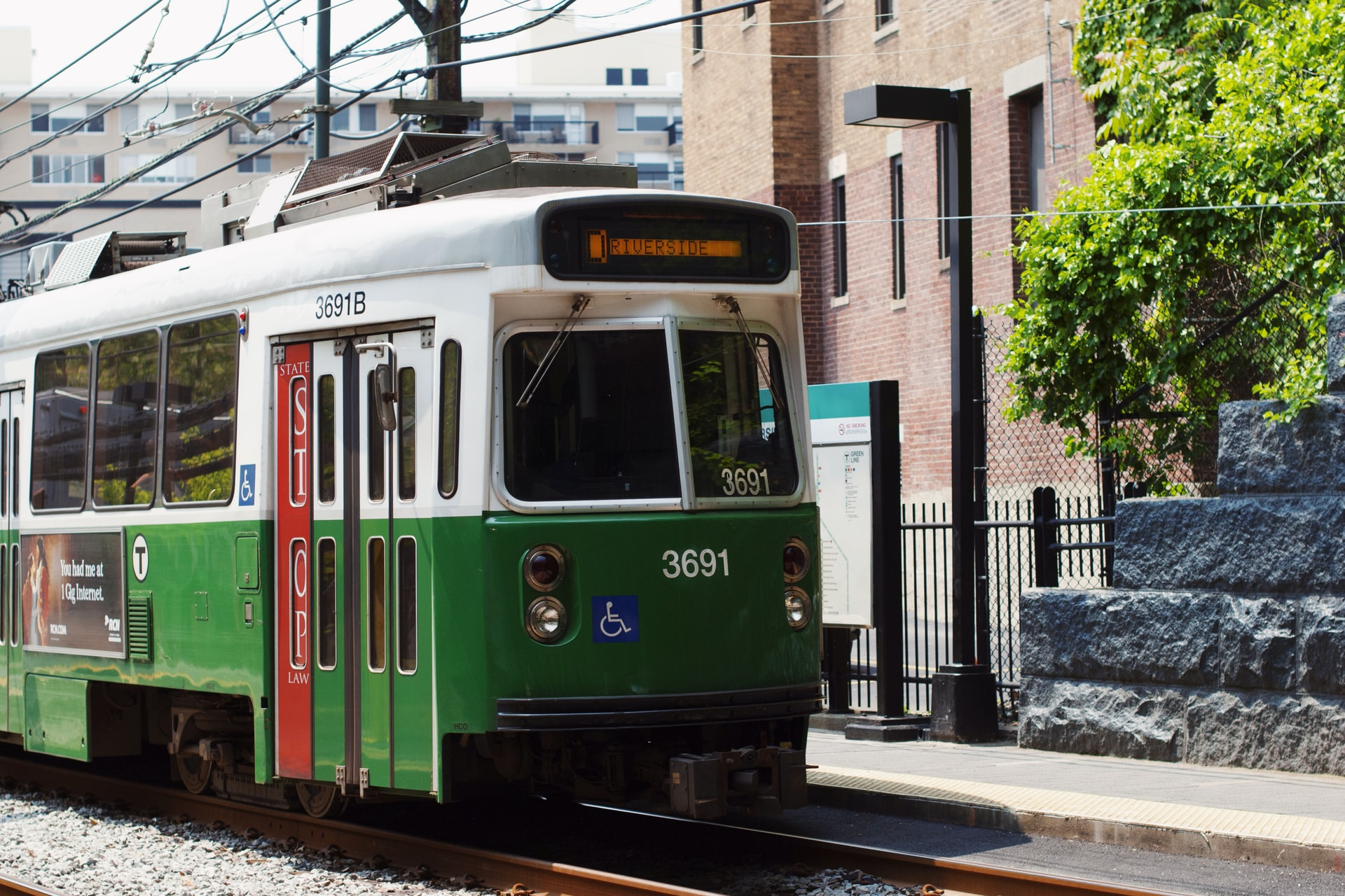 a green tram in Boston