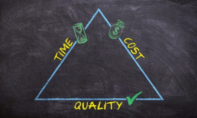 triangle with words quality time money