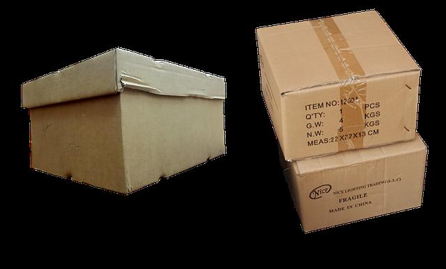 three cardboard boxes