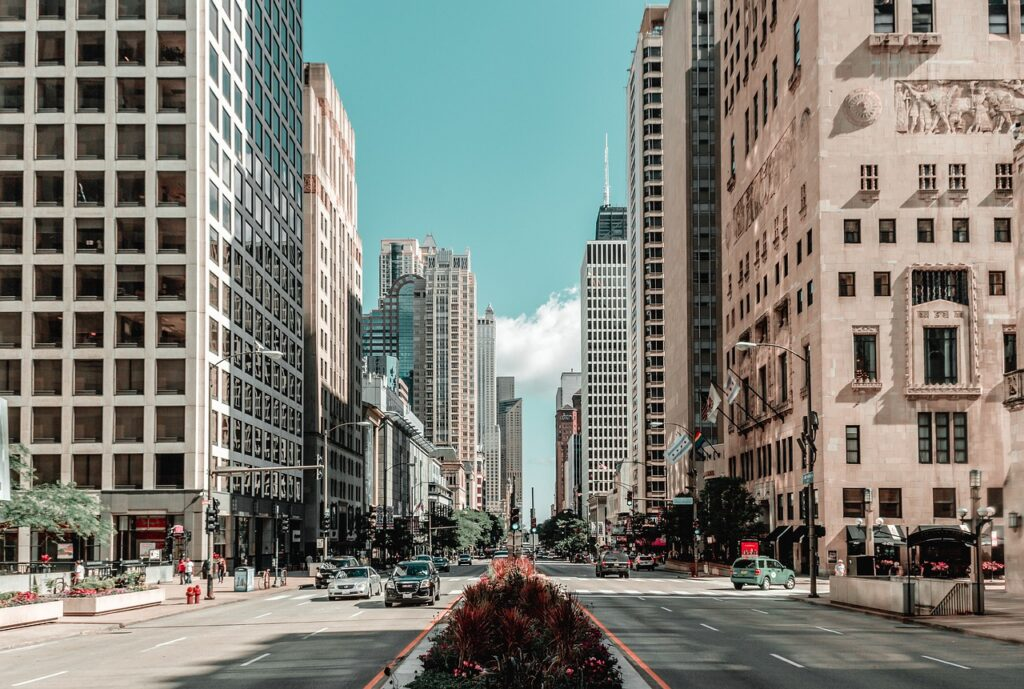 Street in Chicago city