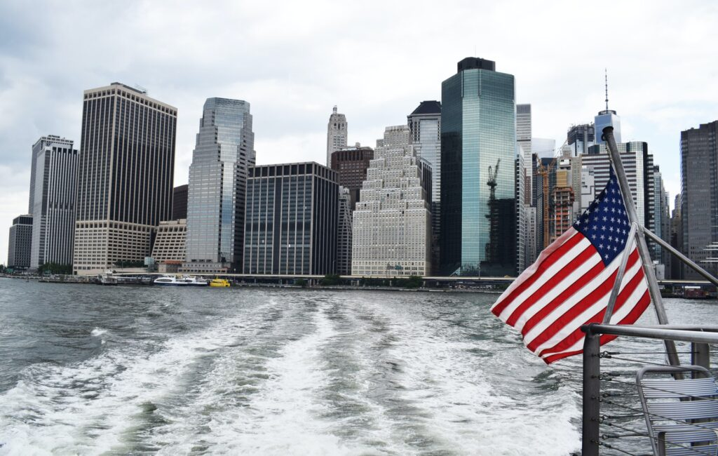 NYC seen from a boat leaving the US