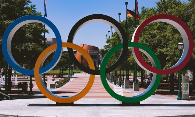 olympic circles on a pavement