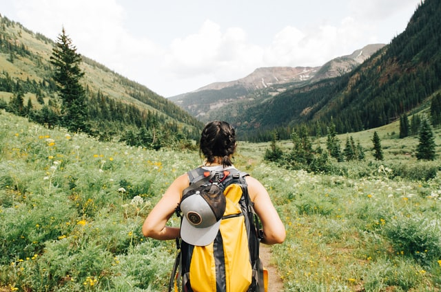 woman hiking in the mountains