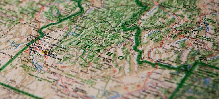 the map of Idaho
