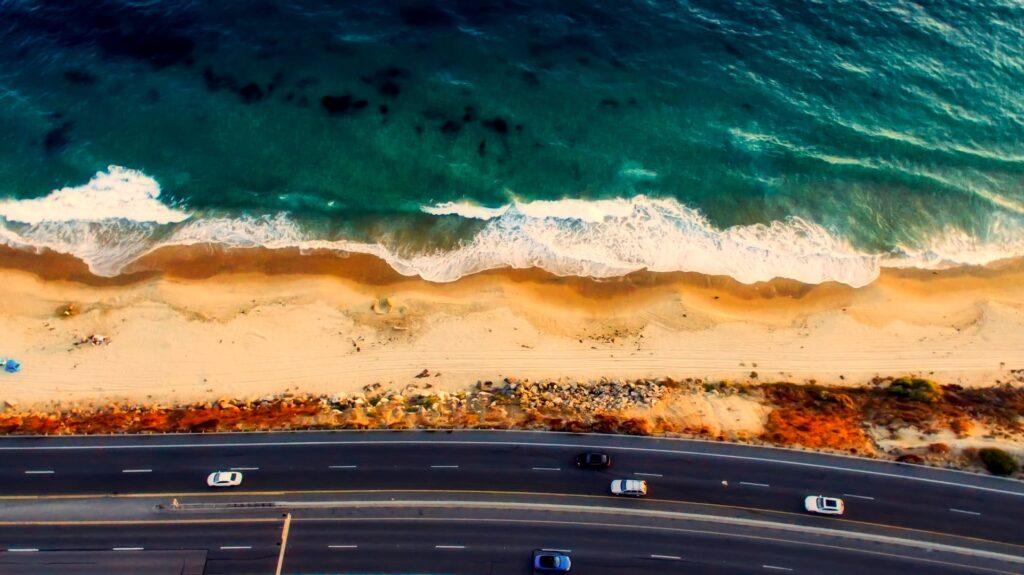 a beach by California