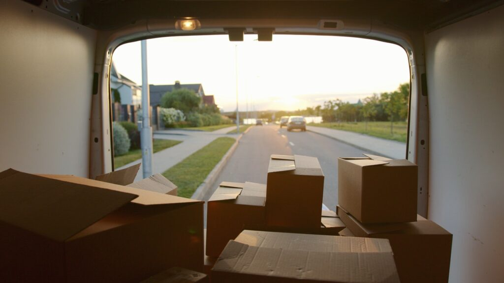 cardboard boxes in a truck