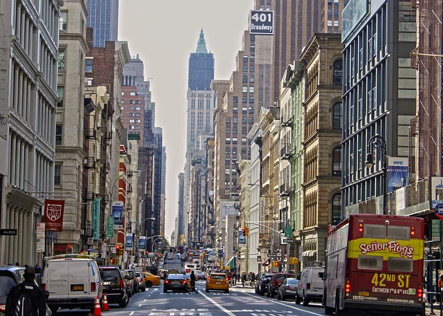 NYC street during rush hour