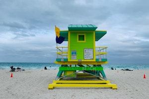 Lifeguard house on sandy Miami beach