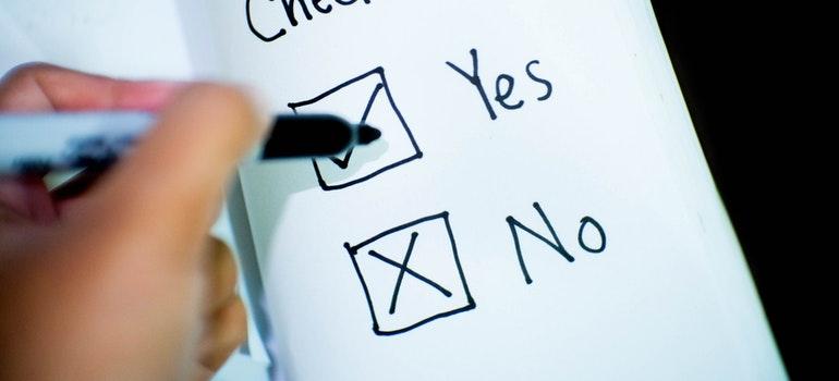 view of a checklist