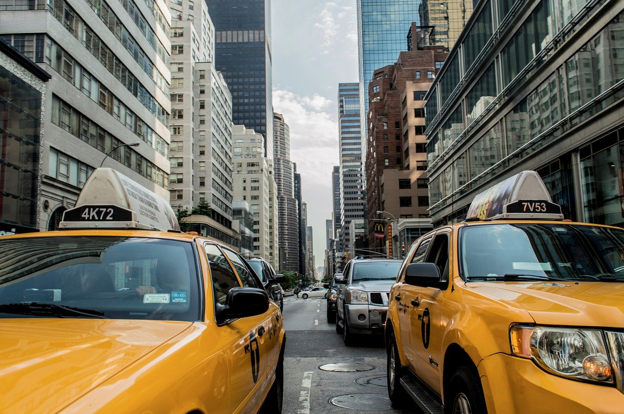 NYC street with taxi cabs
