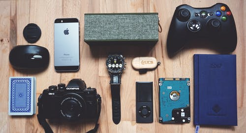 different gadgets on a table