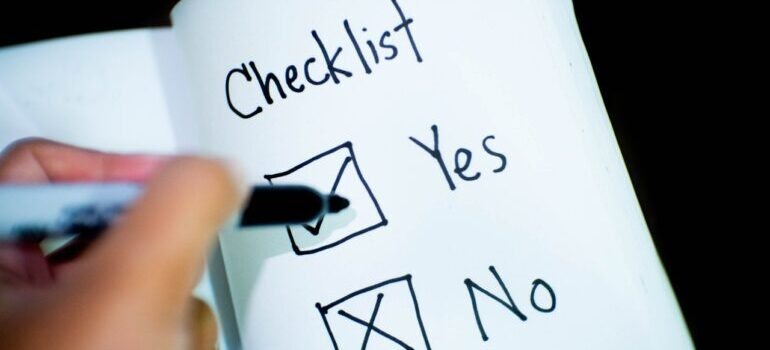 view of a checklist for moving from Connecticut to Texas