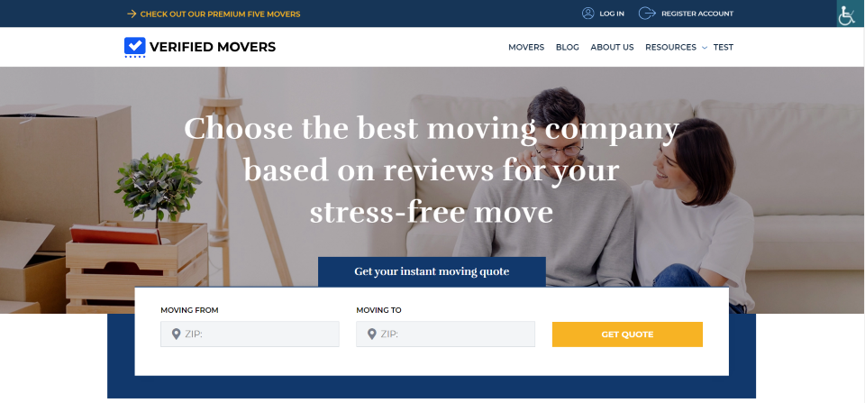 Verified Movers homepage hero section with accessibility plugin icon in the upper left corner.