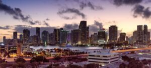 A view of Miami at night.