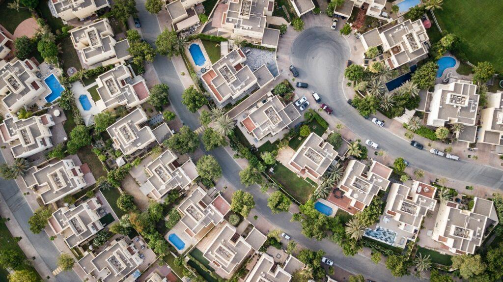 A neighborhood from a bird's perspective