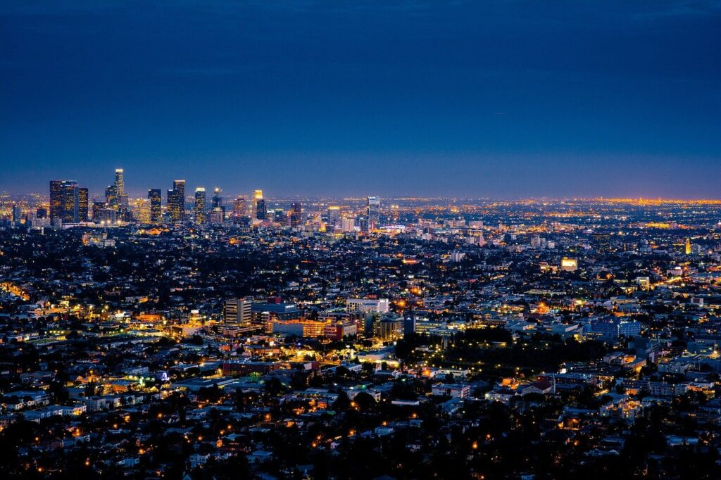 An aerial view of Los Angeles during the night