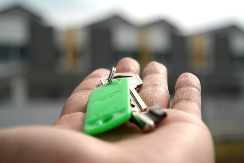 A person holding a key, pointing to homes
