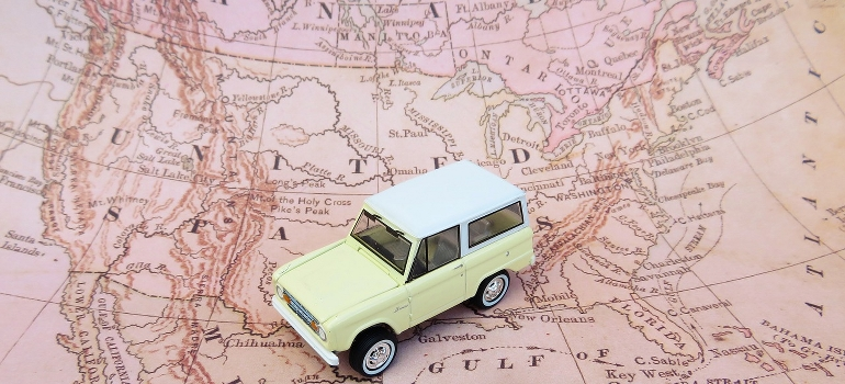 a toy car on a map