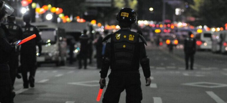 police officer in a riot situation