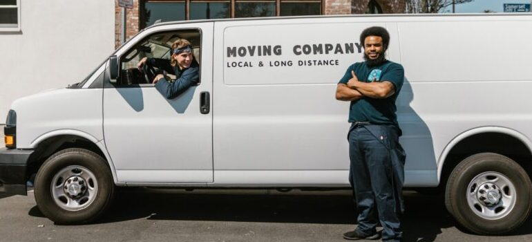 movers in a moving van