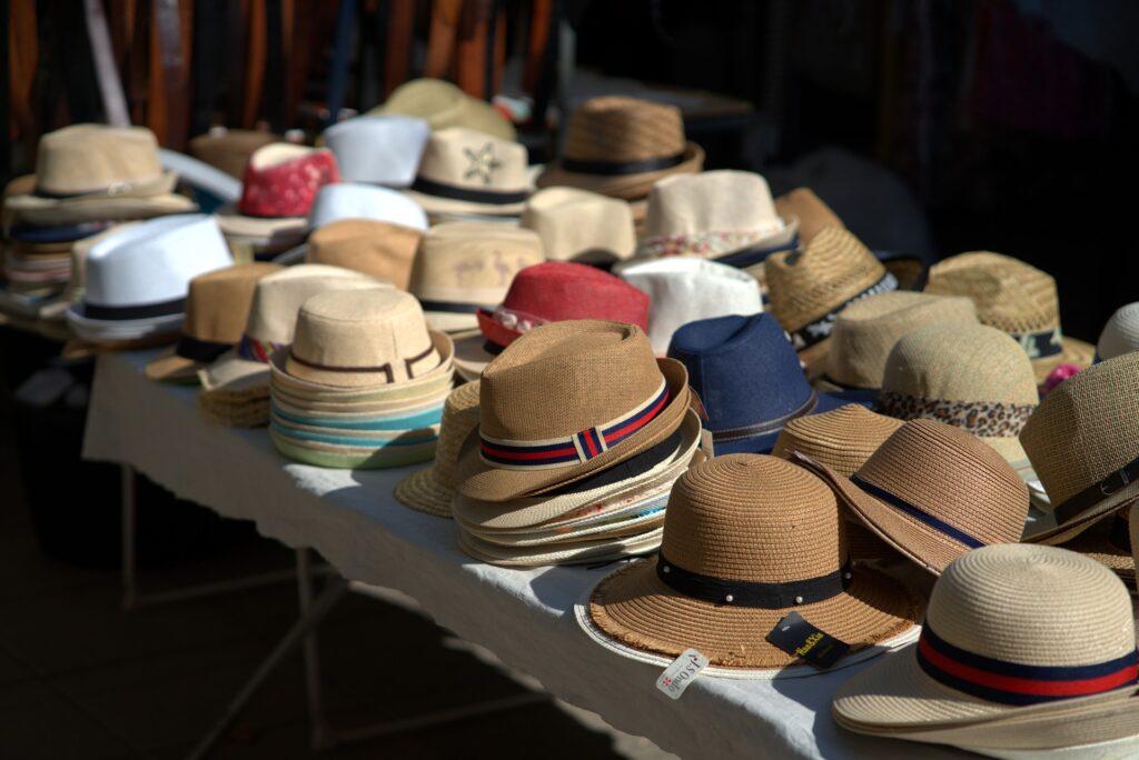 summer hats displayed