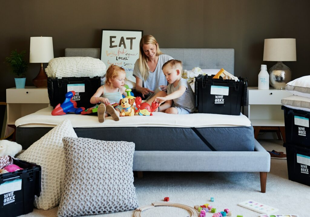 a mom with kids preparing for the move